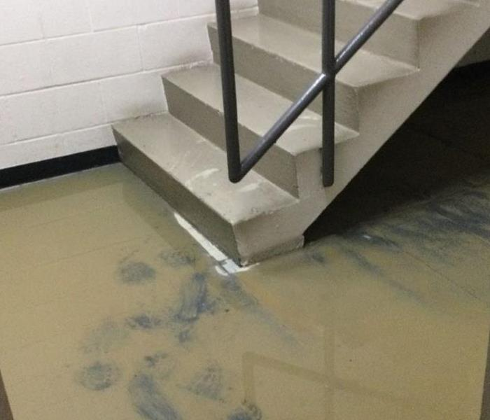 A stairwell in a commercial building with muddy water all over the floor